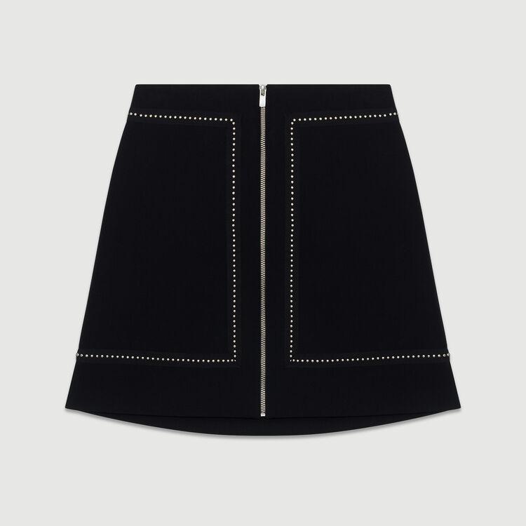 Gonna corta in crêpe con borchie : Gonne e shorts colore Nero
