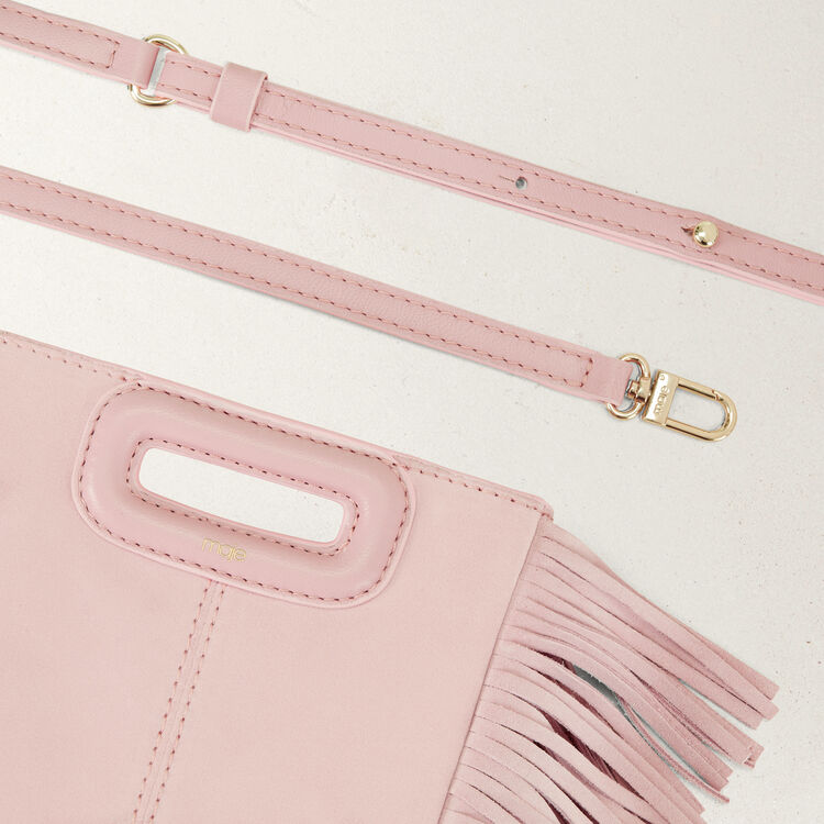 Mini borsa M con frange in pelle : Borse M colore Nude