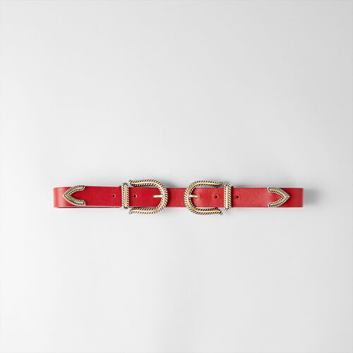 Cintura a vita alta con doppia fibbia : Cinture colore Rosso