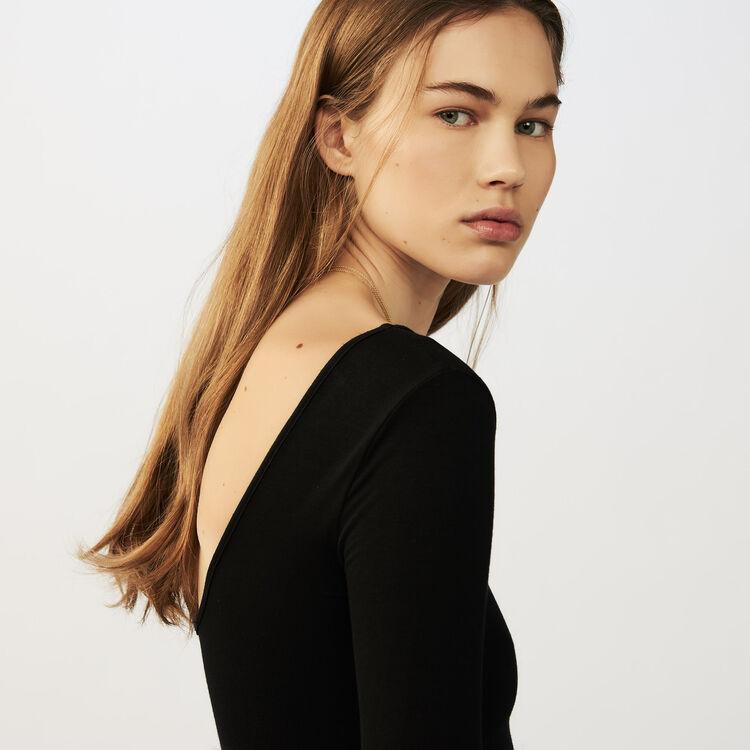 Body a maniche lunghe in jersey : Maglieria colore Nero