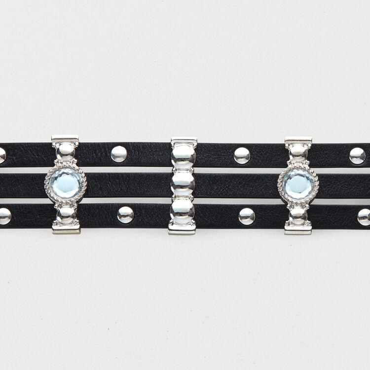 Cintura in cuoio con borchie e strass : Cinture colore Nero