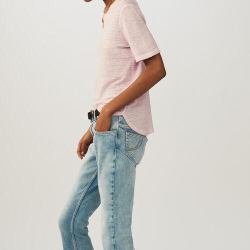 Linen t-shirt : T-Shirts colore LILAS