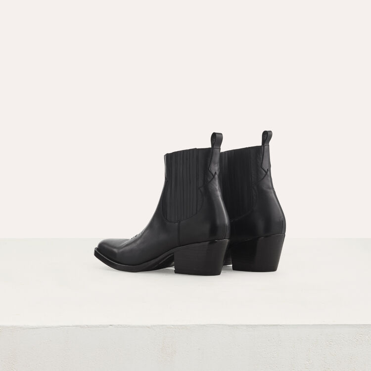 Bottines en cuir à découpes western : Strivali colore Nero
