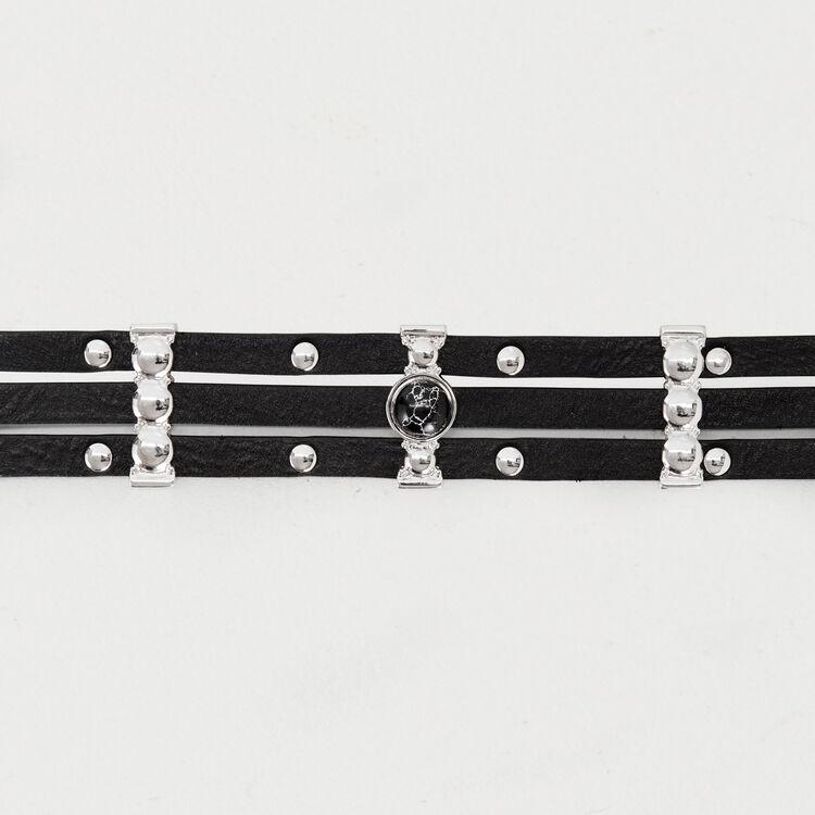 Cintura a vita alta in pelle e metallo : Cinture colore Nero
