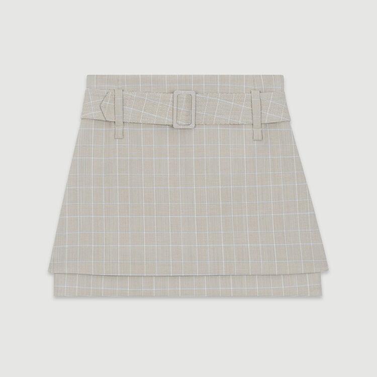 Gonna corta a quadri con cintura : Gonne e shorts colore CARREAUX