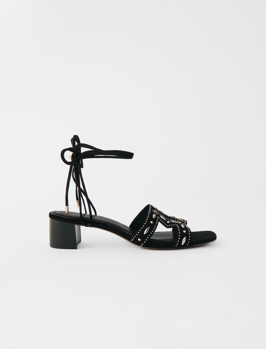 Sandali con borchie e tacco piccolo : -30% colore Nero