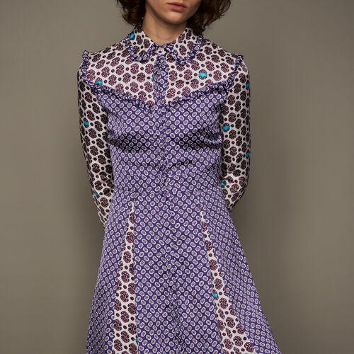 Vestito in satin con mix di stampe : Vestiti colore IMPRIME