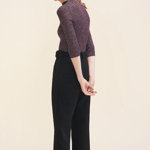Pullover attillato in maglia di lurex : Pullover e cardigan colore BORDEAUX