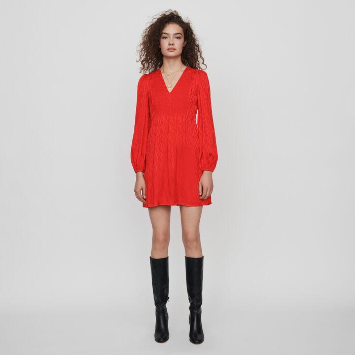 Vestito con smock in jacquard satinato : Vestiti colore Rosso