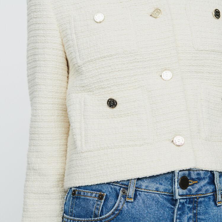 Giacca corta stile tweed : Giacche colore Ecru