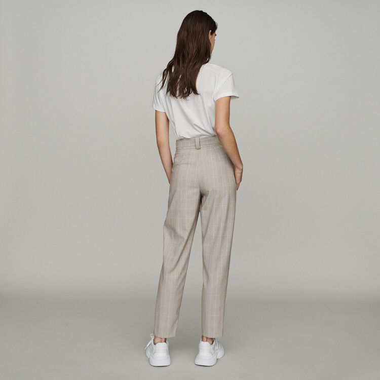 Pantaloni a quadri con cintura : Pantaloni e Jeans colore CARREAUX