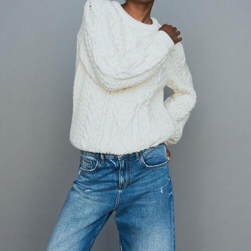 Pull in maglia a trecce : Maglieria colore ECRU