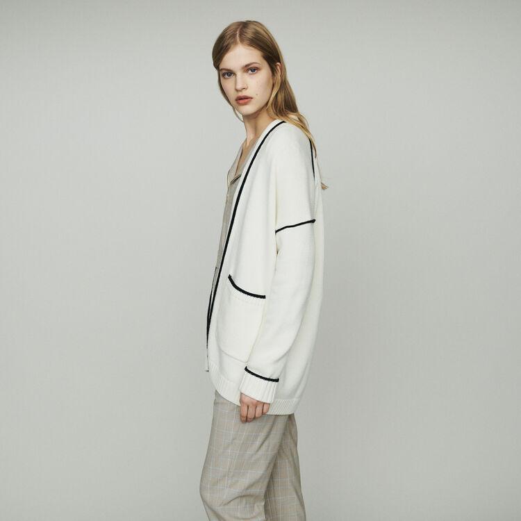 Cardigan medio lungo con bordi : Pullover e cardigan colore ECRU