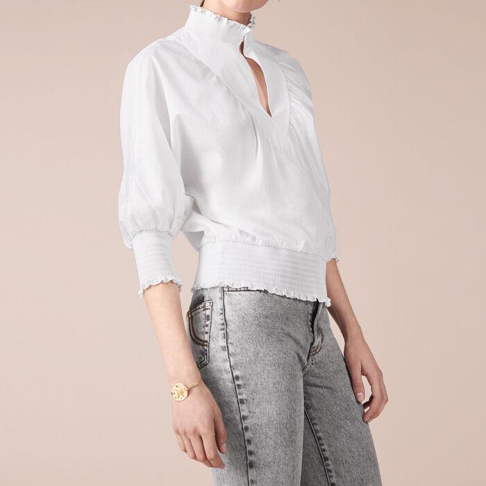 Blusa in popeline di cotone : Tops colore Ecru