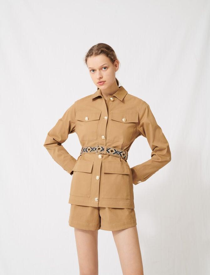 Cappotto cammello  con cintura ricamata - Giacche - MAJE