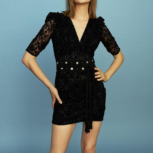 Vestito in pizzo vellutato : Prêt-à-porter colore Nero