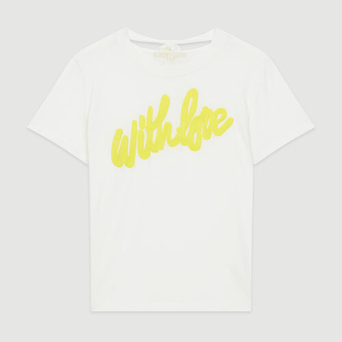 Tee-shirt con messaggio ricamato : T-Shirts colore Bianco