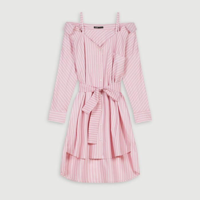 Scamiciato oversize a righe : Vestiti colore Rosa