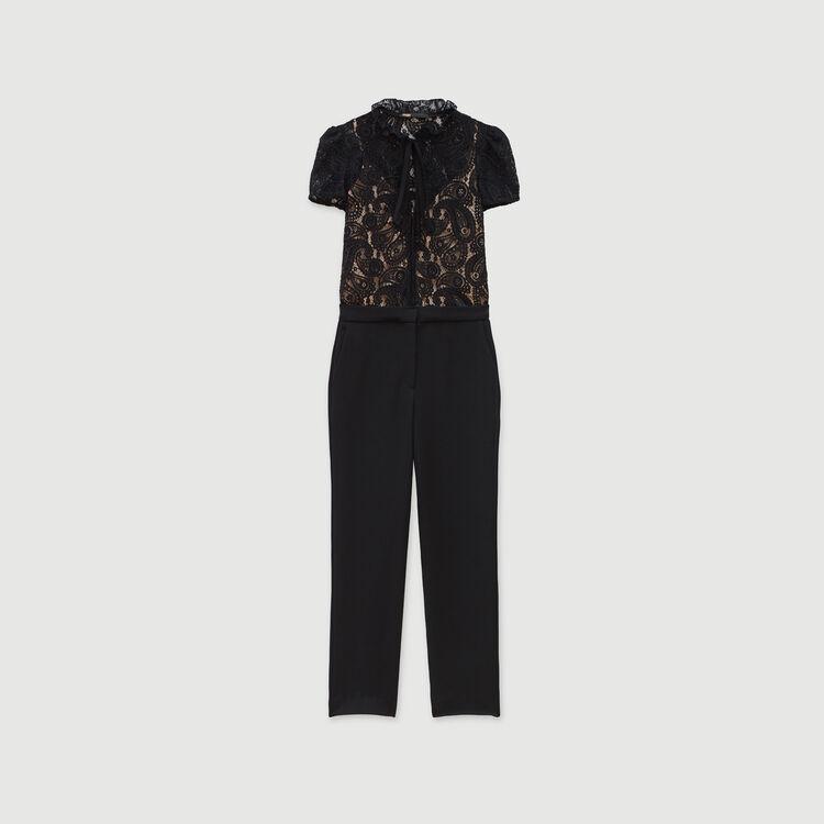 Tuta pantalone in pizzo e crêpe : Collezione Inverno colore Nero