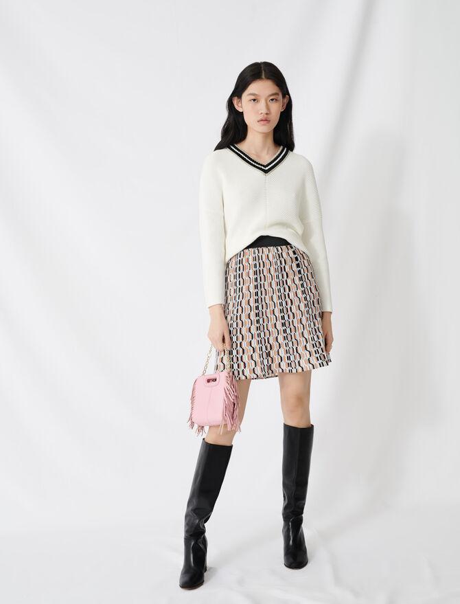 Maglione in maglia fantasia scollo a V - Pullover e cardigan - MAJE