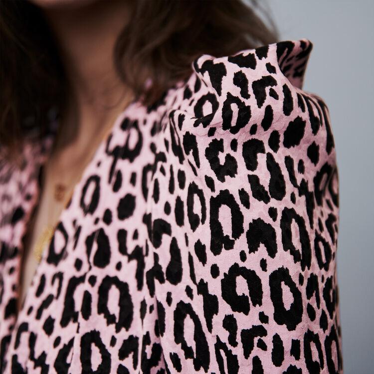 Abito drappeggiato stampato in jacquard : Vestiti colore Rosa