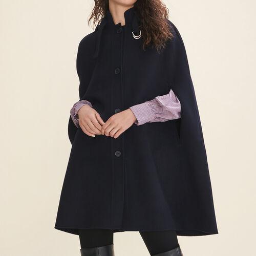 Mantella in lana double face : Cappotti colore Blu Marino