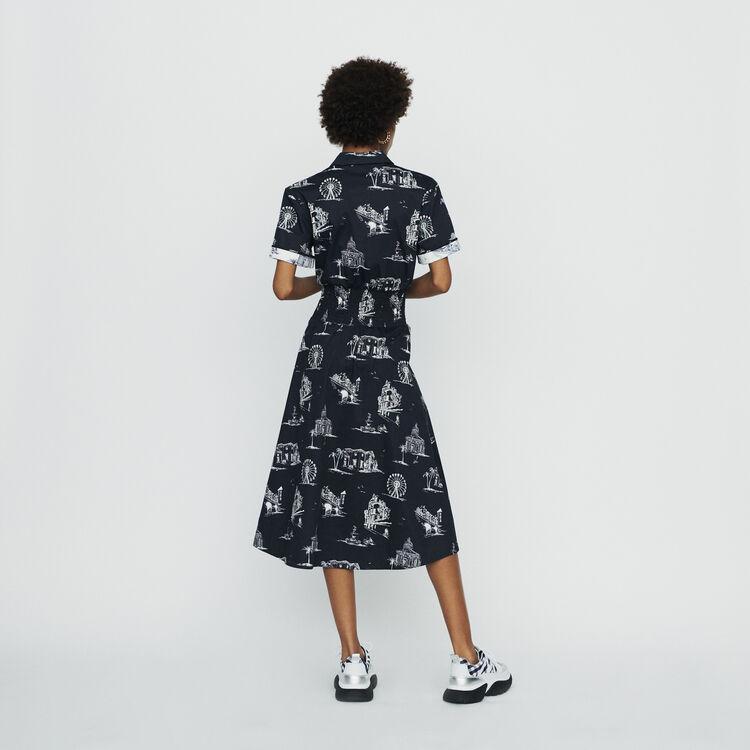Vestito midi con stampa Parigi : Vestiti colore Nero