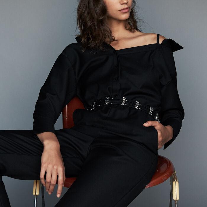 Tuta con spalle nude : Pantaloni colore Nero