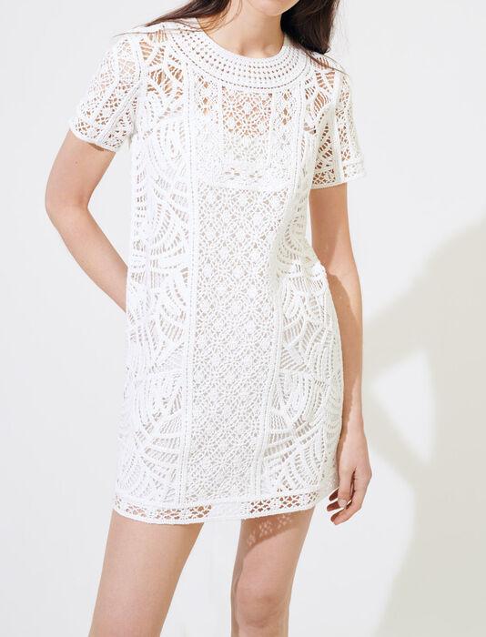 Abito dritto stile macramé : Vestiti colore Bianco