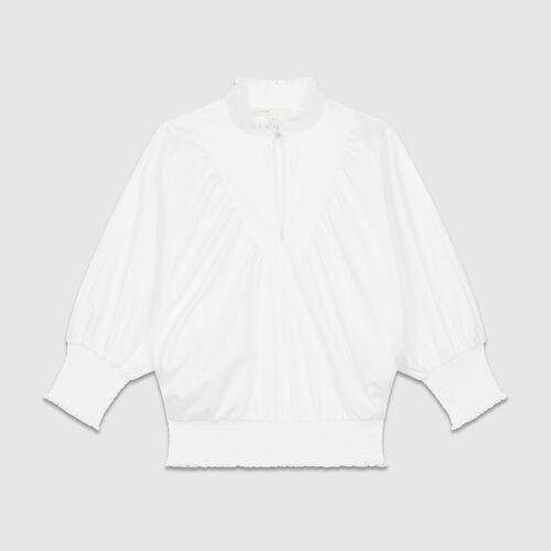 Camicetta in popeline di cotone : Tops colore Bianco