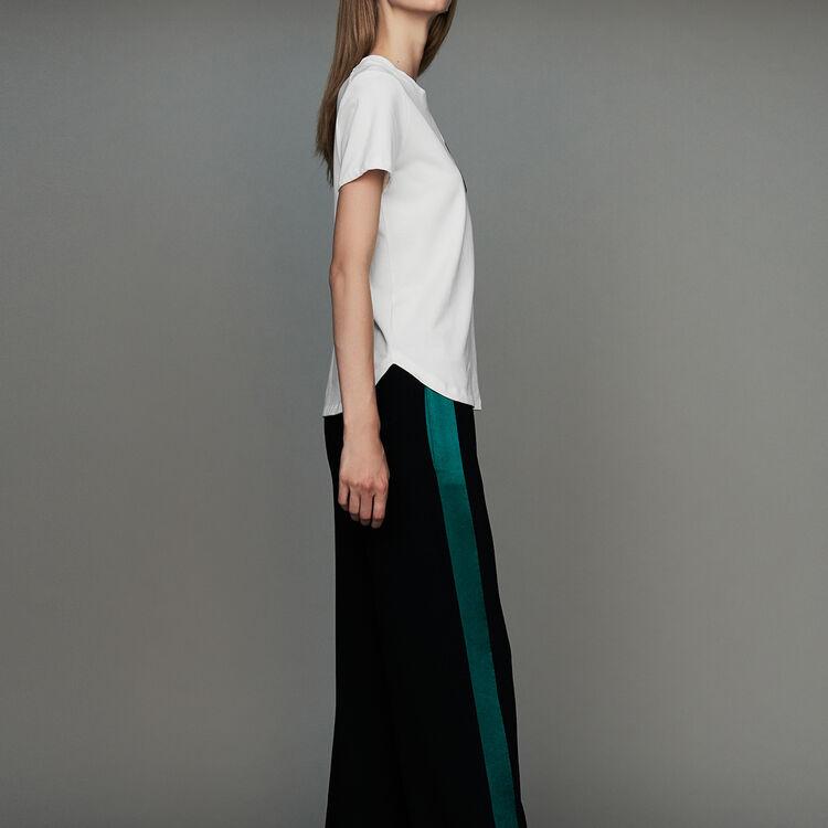 Pantalone largo bicolore : Pantaloni colore Nero