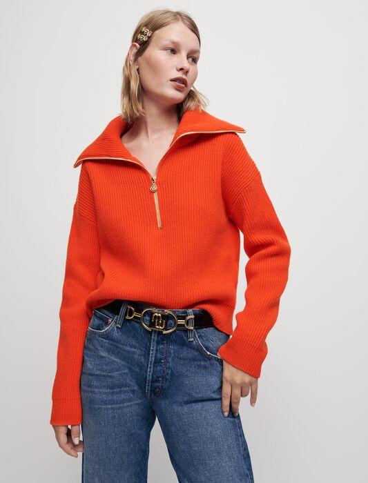 Pullover 100% lana con collo alto a zip : Pullover e cardigan colore Ecru
