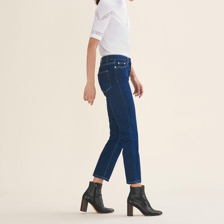 Jeans 7/8 in cotone stretch : Pantaloni e jeans colore Blu
