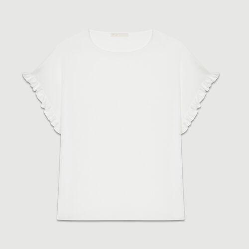 T-shirt loose con volant sulle maniche : T-Shirts colore Bianco