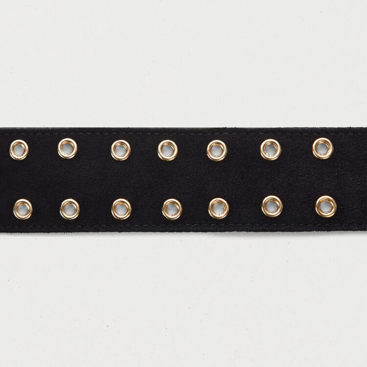 Cintura con occhielli in cuoio : Cinture colore Nero