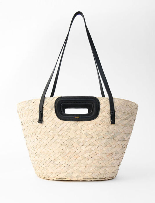 Cesto intrecciato in palma e pelle : Tutte le borse colore Nero