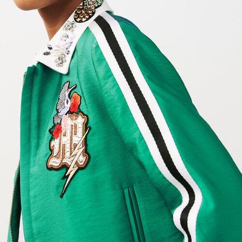 Giubbotto corto con collo gioiello : Giubbotti colore Verde
