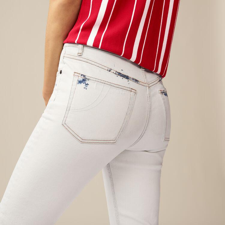 Jeans dritti con dettagli contrastanti : Jeans colore Bianco