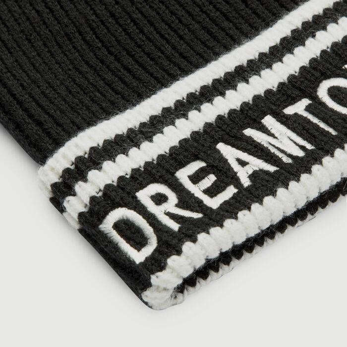 Cuffia in misto lana con scritta : Scialli & Poncho colore NERO