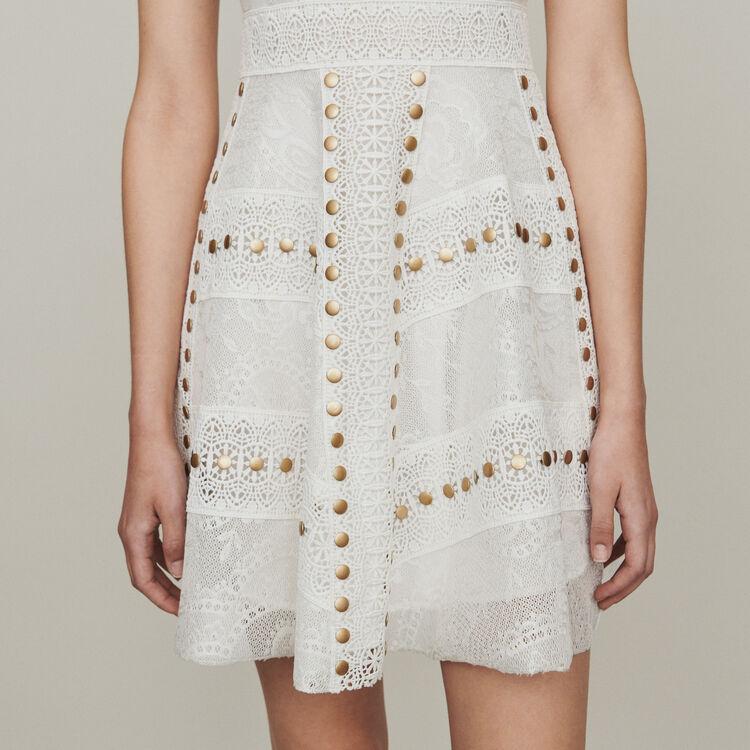 Vestito in pizzo con borchie : Vestiti colore Bianco