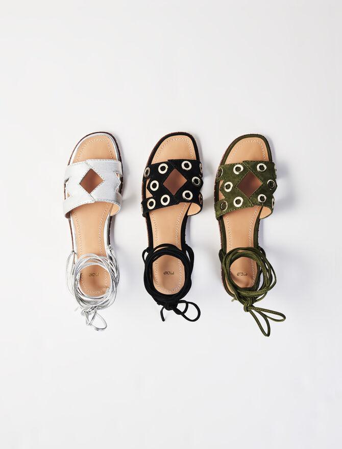Sandali da annodare in pelle scamosciata - Nuova collezione - MAJE