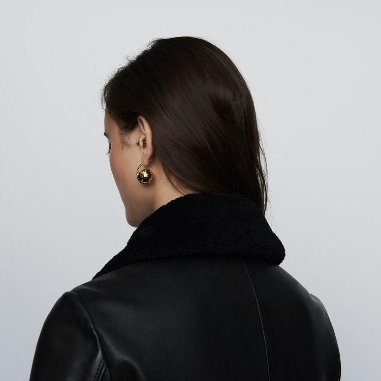Giubbotto di pelle con collo in montone : Giubbotti colore Nero