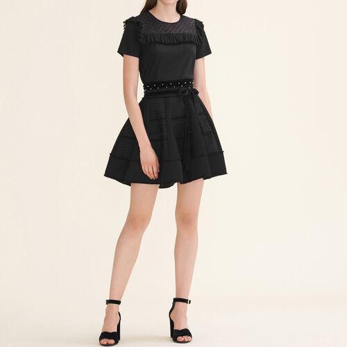 Gonna a campana in maglia a rete : Gonne e shorts colore Nero