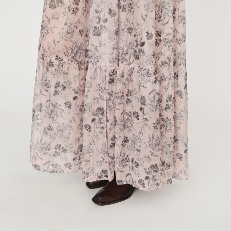 Gonna lunga a fiori in voile di cotone : Gonne e shorts colore LILA