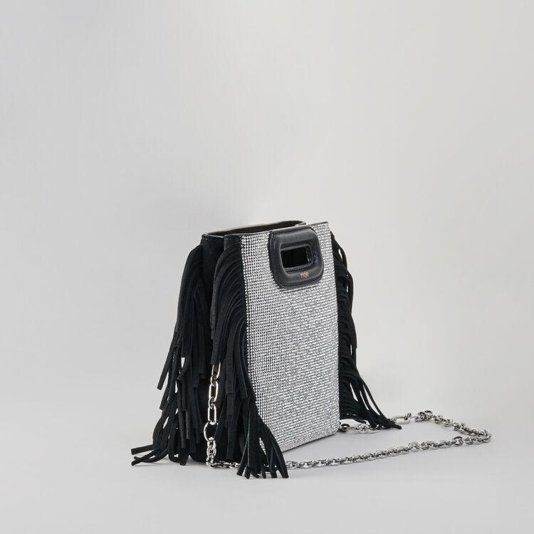 Leather and stellar-stud shoulder strap : M Mini colore Nero