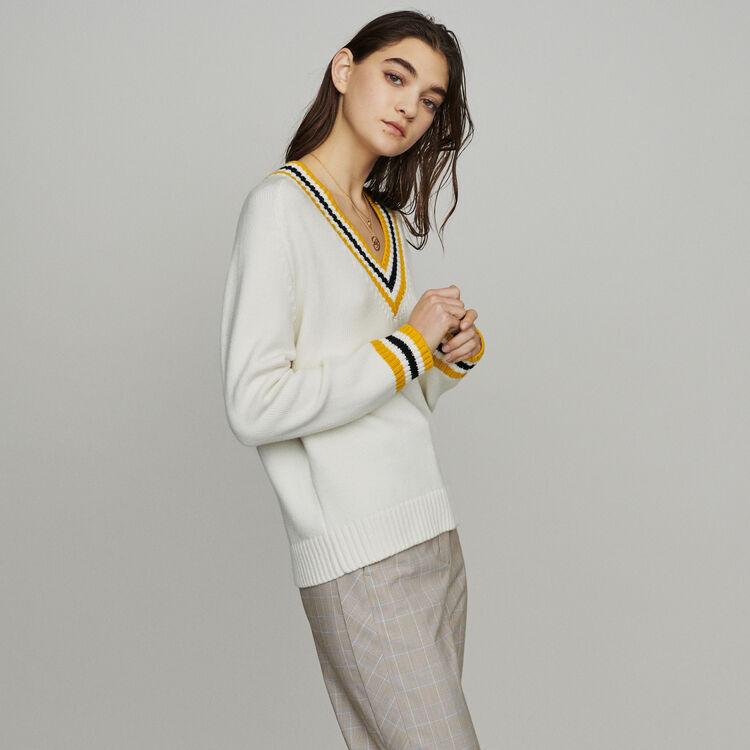 Pull collo a  V e bande a contrasto : Pullover e cardigan colore ECRU