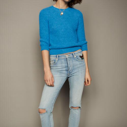 Maglia corta in mohair : Pullover e cardigan colore Blu