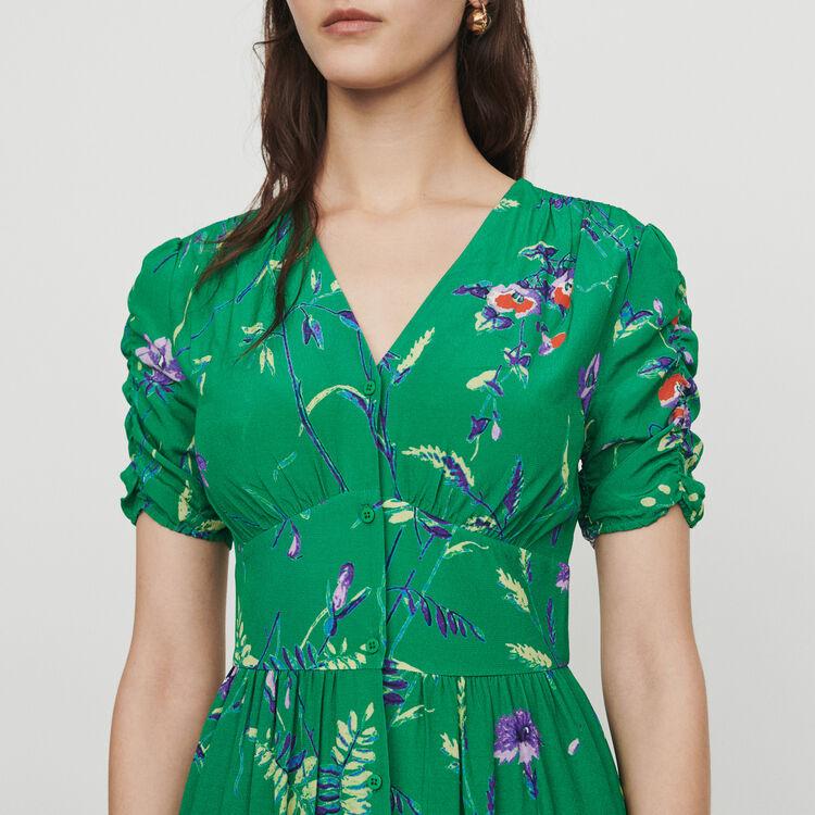 Vestito midi stampato in crêpe : Vestiti colore IMPRIME