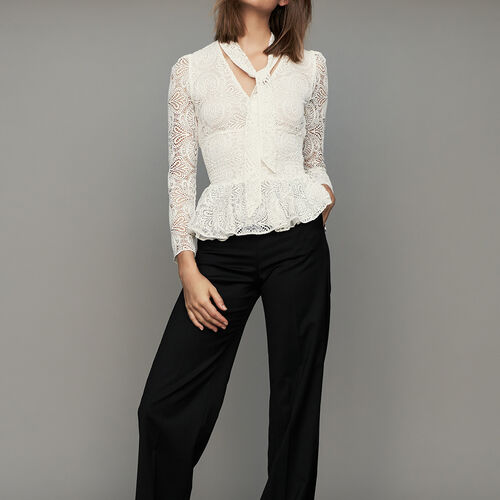Pantalone largo con pinces : Pantaloni colore Nero