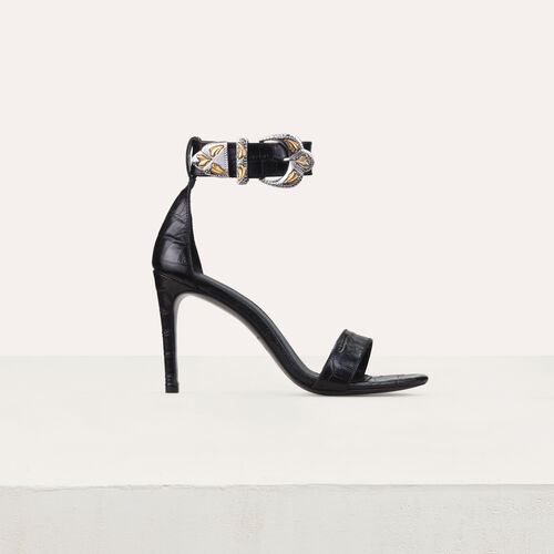 Sandali con tacco in pelle : Scarpe colore Nero